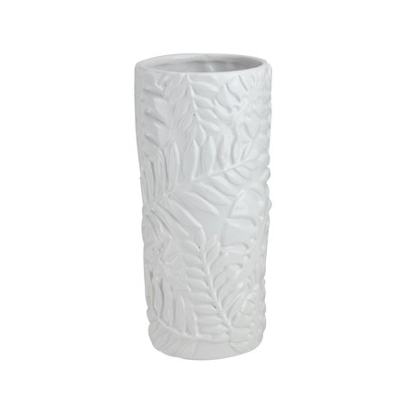 "9.5"" Contemporary White Tropical Leaf Design Ceramic Flower Vase"