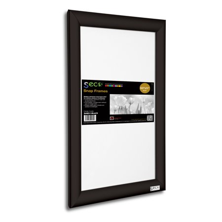 SECO Front Load Easy Open Snap Poster/Picture Frame 8.5 x 11 Inches, Black Aluminum Frame (SN8511Black)