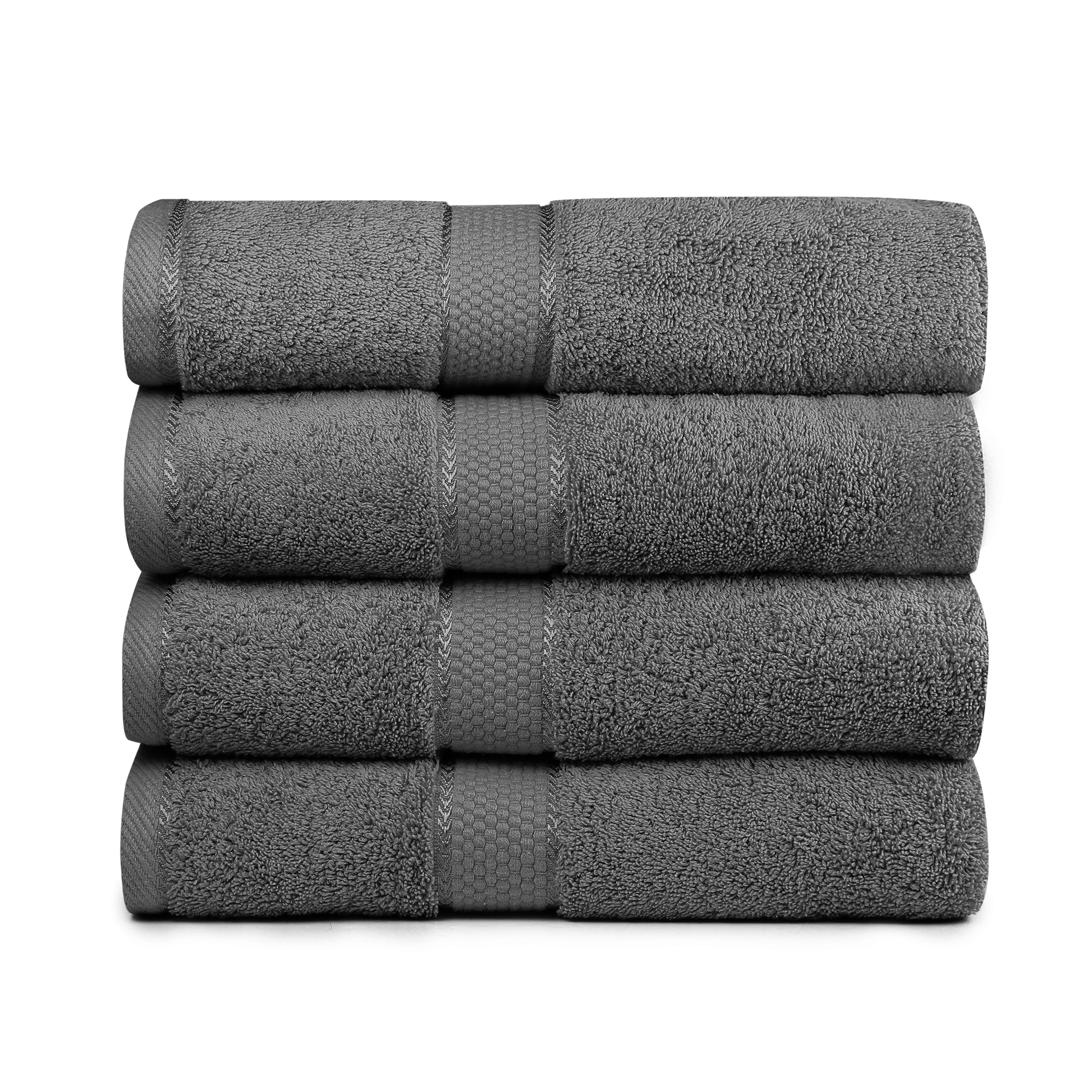 "Bisgal 4-Piece Luxury Bath Towels Set – Super Soft & Durable - 700-GSM - 100% Pure Cotton - Machine Washable & Quick Dry - Lightweight Home, Pool, Gym, Towel - 27"" x 54"" Inch (Grey)"