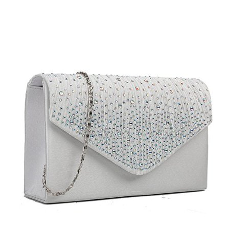 Satin Bridal Handbag - Miss Lulu Ladies Diamante Clutch Evening Bridal Wedding Bag Handbag (Beige)