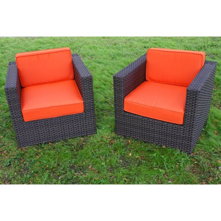 Bellagio Patio - Bellagio 2-Piece Wicker Patio Armchair Set with Orange Cushions