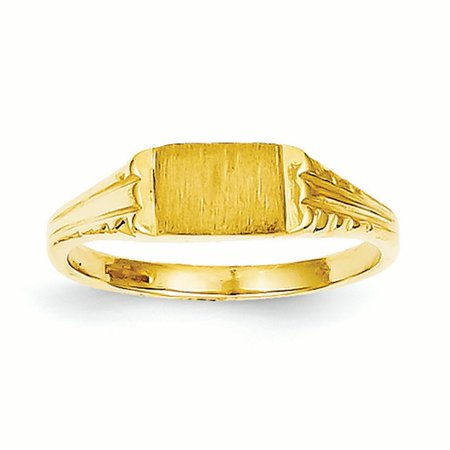 14K Yellow Gold Baby and Children Signet Ring, Size 3.5