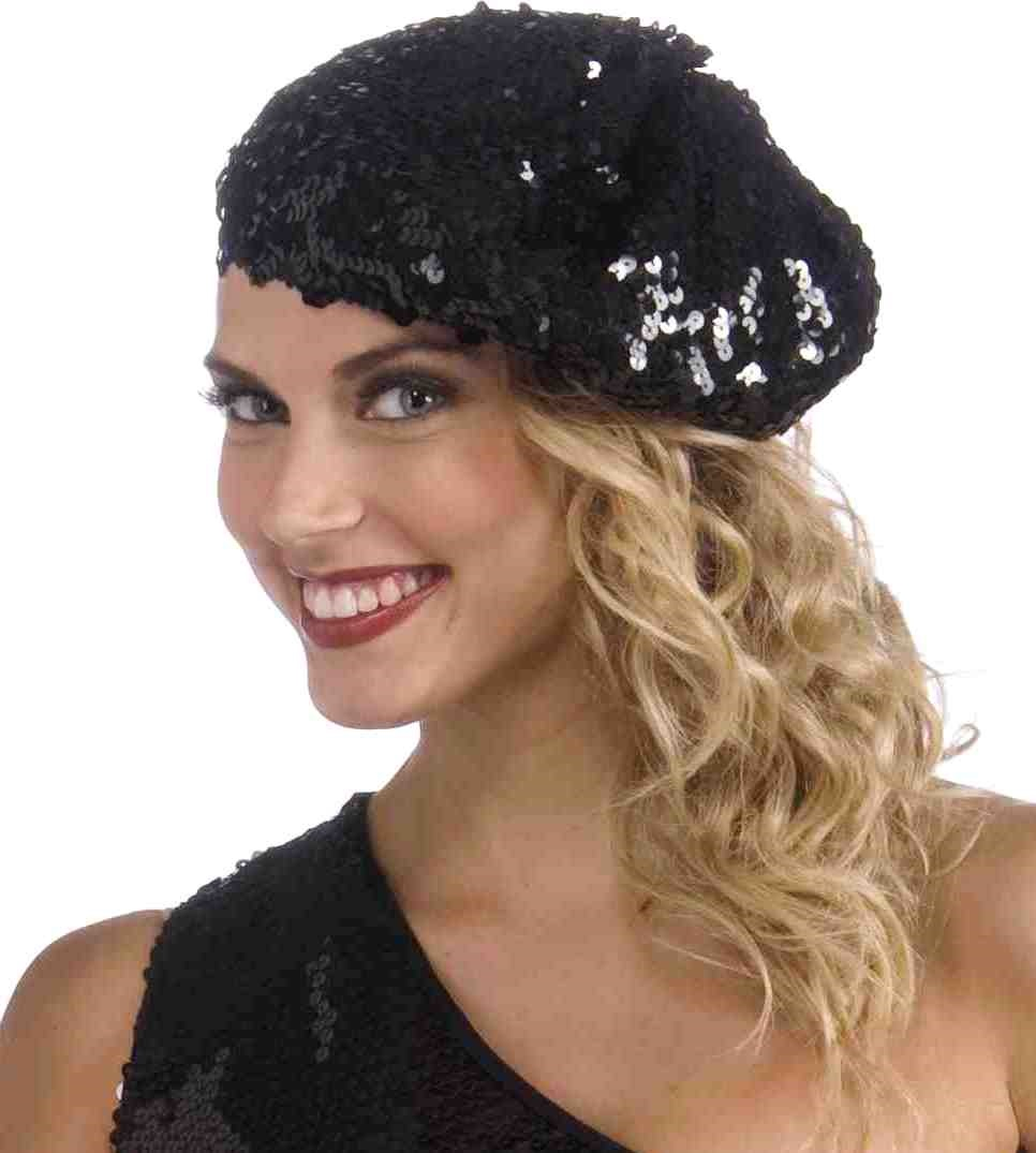 Women's Roaring 20's Black Sequin Flapper Beret Hat Gatsby Costume Accessory - image 1 de 1