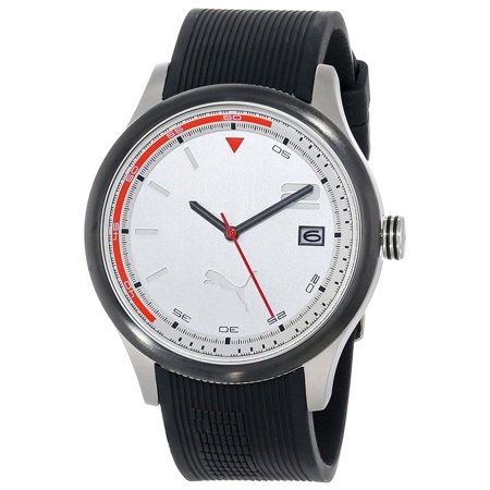 Puma PU102731002 Men's Wheel 3HD Silver Dial Black Polyurethane Strap Watch