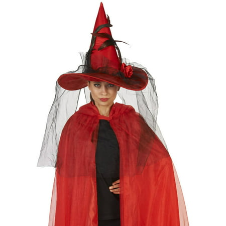 Red Witch Adult Hat with Feathered Veil Halloween Accessory