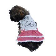 Pink White Lace Bow Skirt Dress For Puppy Dog - Large (Gift for Pet)
