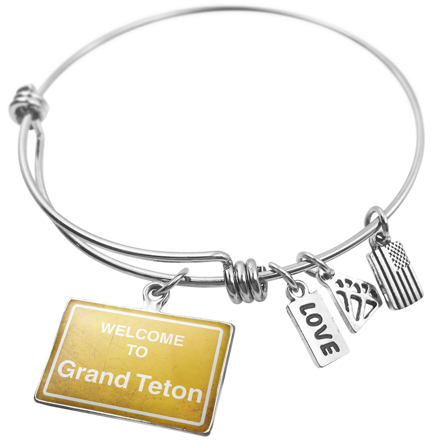 Expandable Wire Bangle Bracelet Yellow Road Sign Welcome To Grand Teton - NEONBLOND