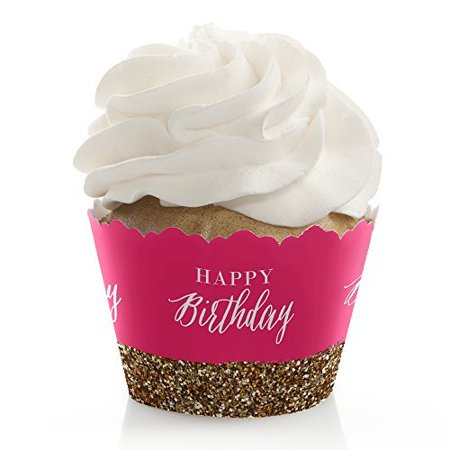 Happy Wrappers (Chic Happy Birthday - Pink and Gold - Birthday Party Cupcake Wrappers - Set of 12 )