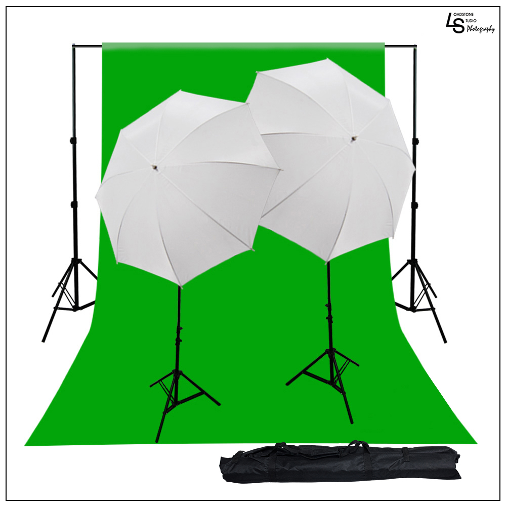800W Premium Continuous Lighting Kit with Green Chromakey Muslin Background Support System Umbrellas by Loadstone Studio WMLS0555