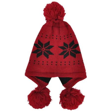 89664f610726b3 BASILICA - Women's Winter Ski Knit Snowflake Cable Earflap Red Beanie Hat  with Pom - Walmart.com