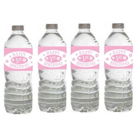 Girls 1st Birthday Party Decorations-  15ct Water Bottle Label Stickers - First Birthday Party Ideas Girl