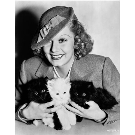 Jean Harlow Portrait in Grey Tweed Linen Suit Dress and Velvet Wool Hat with Three Kittens on the Hands Photo Print