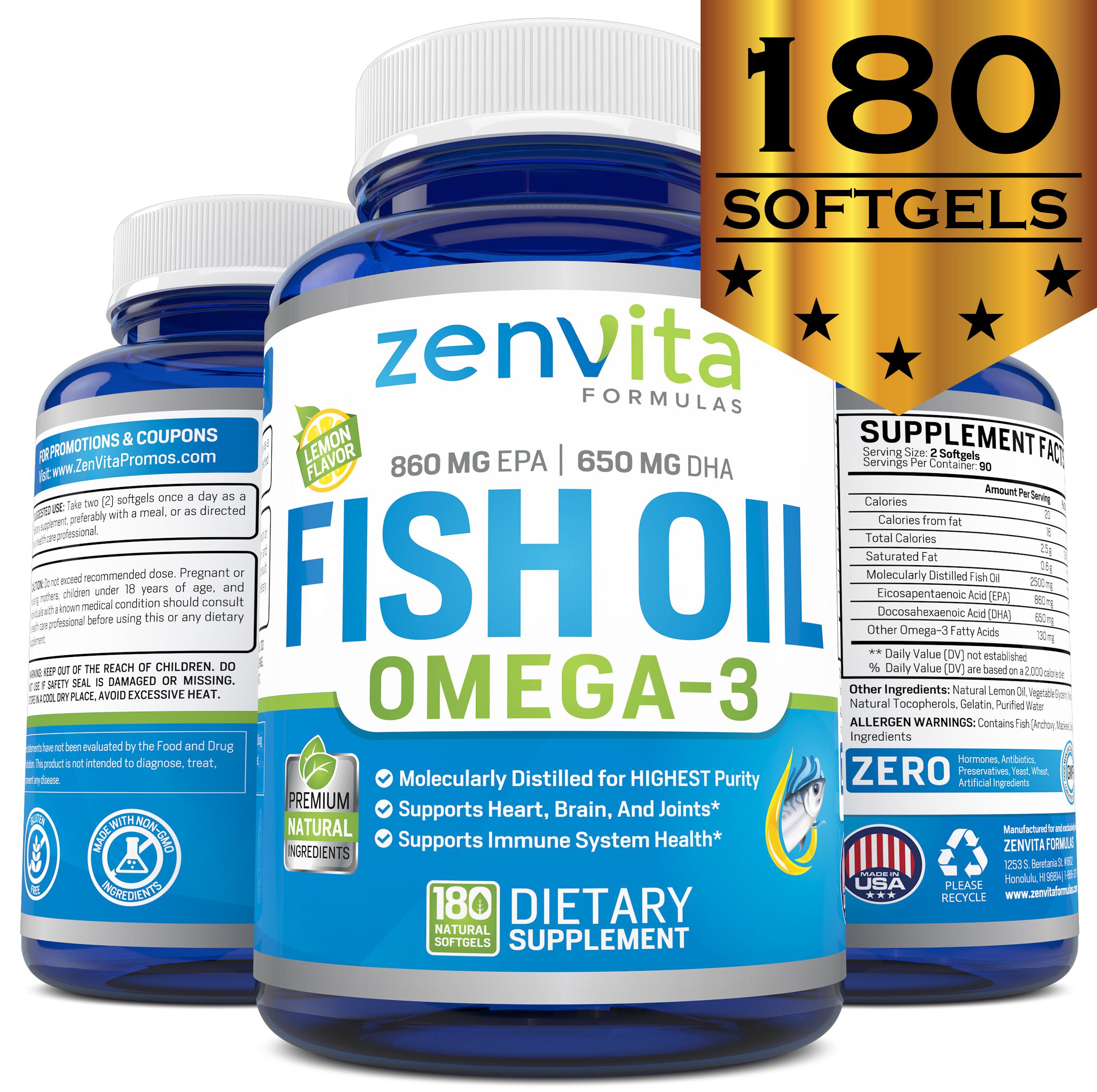 ZenVita Formulas Omega 3 Fish Oil Capsules - 180 Softgels, Lemon Flavored - NO Fishy Aftertaste, Non GMO & Gluten FREE, Pharmaceutical Grade, Molecularly Distilled & Mercury Free