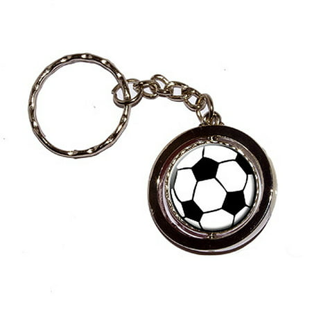 - Soccer Ball Spinning Circle Keychain