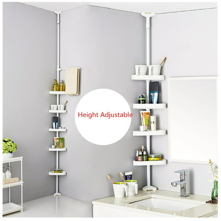 Tension Bathroom Corner Shelf Bath Shower Caddy Pole Storage Rack Tower Organizer Basket