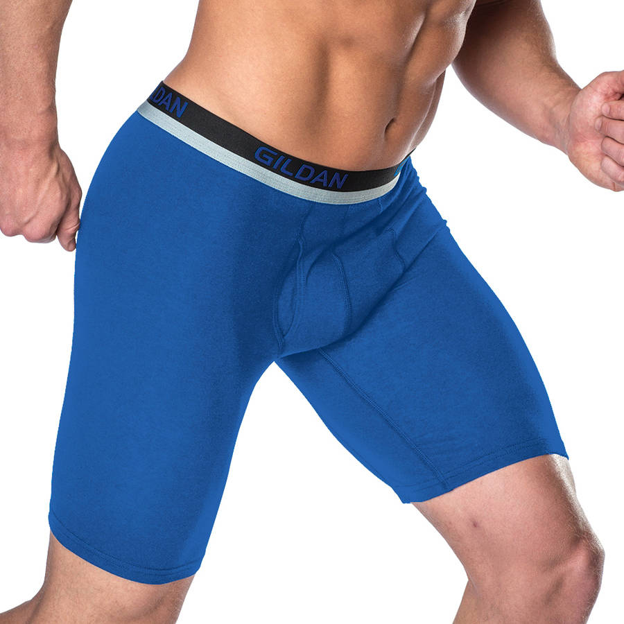 Gildan Stretch Cotton Mens Long Leg Boxer Briefs, 3 pack