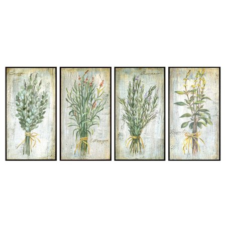 Paragon Green Herbs Framed Wall Art - Set of 4 Paragon Wall Decor