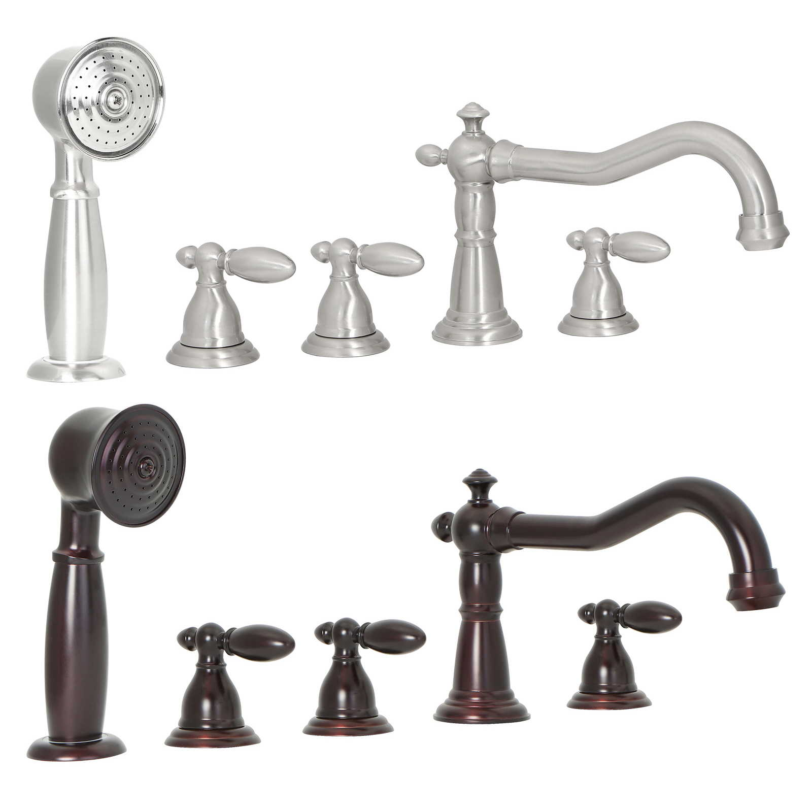 FREUER Bellissimo Collection: Handshower Roman Tub Faucet - Multiple Finishes Available