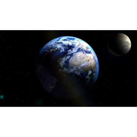 - LAMINATED POSTER Planet Universe Atmosphere Globe Earth Moon Poster Print 24 x 36