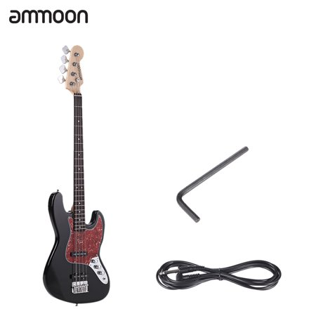 ammoon Solid Wood 4 String JB Electric Bass Guitar Basswood Body Rosewood Fretboard 21 Frets with 6.35mm Cable (Limited 4 String Bass)