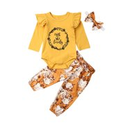 Newborn Baby Girls Outfits Ruffle Romper Bodysuit Tops Floral Halen Pants Headband Clothes Set for Infant Toddler Shower or Coming Home Gift