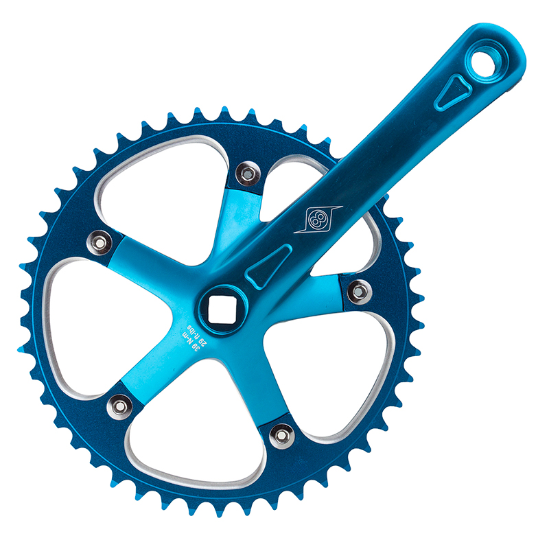 "Origin8 Track Crankset 165mm Blue 46T x 1/8"" JIS Single Speed Fixed Gear Bike"