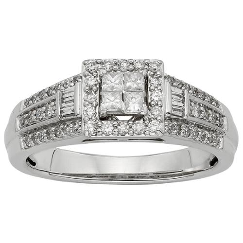 Sofia 10k White Gold 1/2ct TW Diamond Engagement Ring (H-I, I1-I2) Size 6.5