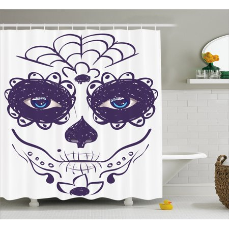 Day Of The Dead Decor Shower Curtain Dia De Los Muertos Sugar Skull Girl Face