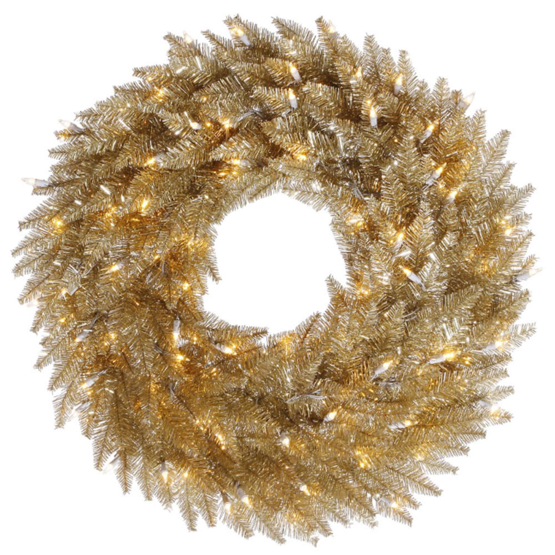 5' Pre-Lit Champagne Fir Artificial Christmas Wreath - Clear Lights