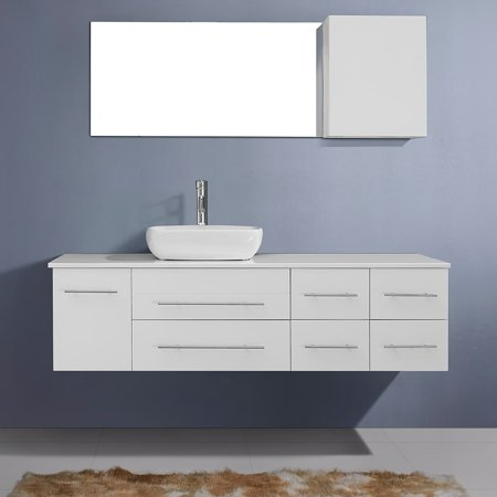 Virtu Usa Justine 59  White Stone Single Bathroom Vanity Cabinet Set In White