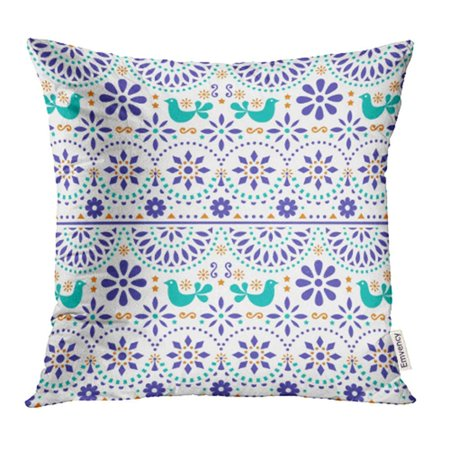 CMFUN Mexican Folk with Birds and Flowers Colorful Fiesta Inspired By Traditional Form Pillowcase Cushion Cover 16x16 inch - Fiesta Flowers
