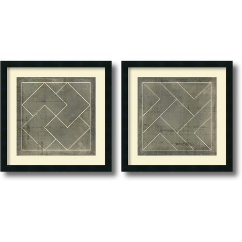 Amanti Art 'Geometric Blueprint III and IV' by Vision Studio 2 Piece Framed Graphic Art... by Amanti Art