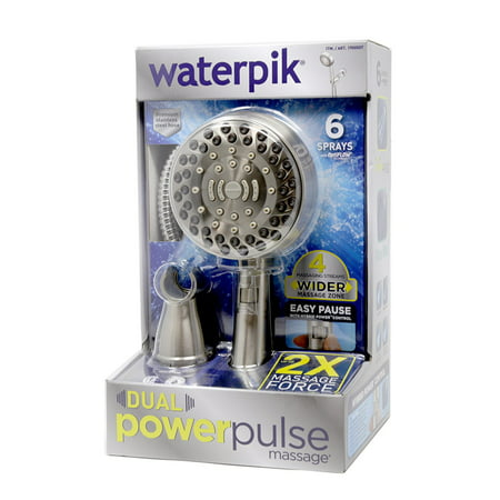 Waterpik Dual Power Pulse Massage Shower Head (Brushed Nickel) Brushed Nickel