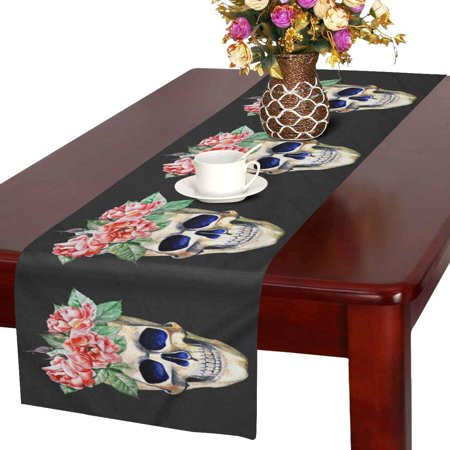 MKHERT Watercolor Sugar Skull With Flowers Table Runner Home Decor for Home Kitchen Dining Wedding Party 16x72 Inch
