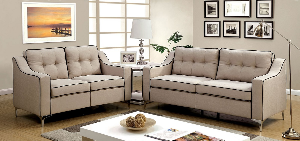Living Room 2pc Sofa Set Chrome Legs Solid Wood Beige Tufted Sofa Loveseat Couch Contemporary Couch by