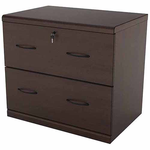 2 Drawer Lateral Wood Lockable Filing Cabinet, Espresso
