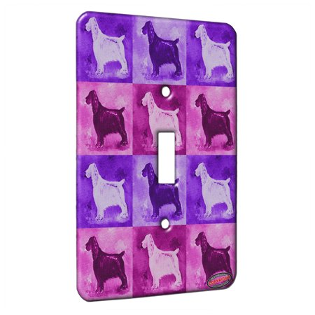 KuzmarK™ Single Gang Toggle Switch Wall Plate - Liver Field Spaniel Dog Pink Pattern Art by Denise