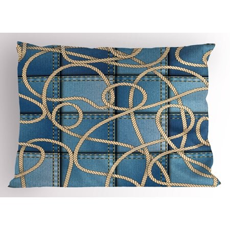 Nautical Pillow Sham Various Patches of Denim in Sea with Sailor Knot Rope on Foreground Image Art Print, Decorative Standard Size Printed Pillowcase, 26 X 20 Inches, Blue, by - Sailors Knot Standard Wall