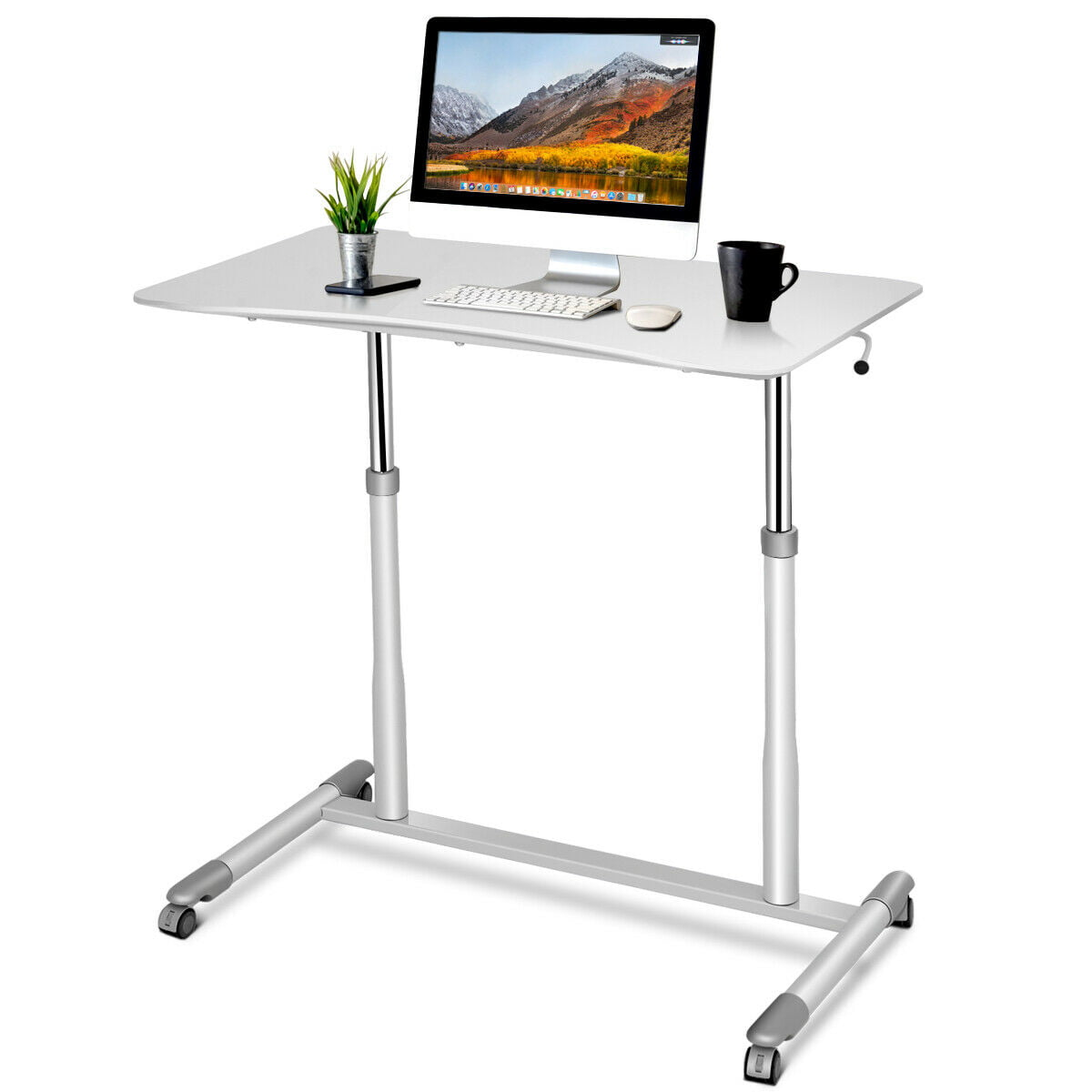 Height Adjustable Computer Desk Sit-Stand Rolling Notebook Table Stand