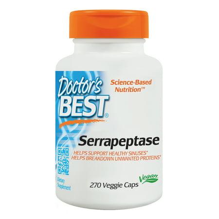 Doctor's Best Serrapeptase, Non-GMO, Gluten Free, Vegan, Supports Healthy Sinuses, 40,000 SPU, 270 Veggie (Best Tonearm For Ortofon Spu)