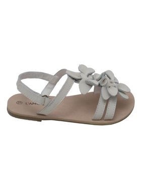 5c5a82fdeee Product Image Girls White Flower Blossom Accent Strap Sandals 11-4 Kids.  L Amour