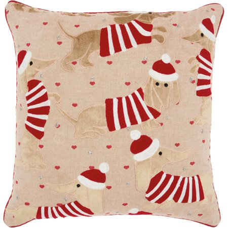 Nourison Home For The Holiday Candy Cane Dachshund Multicolor Throw - Candy Cane Throw Pillow