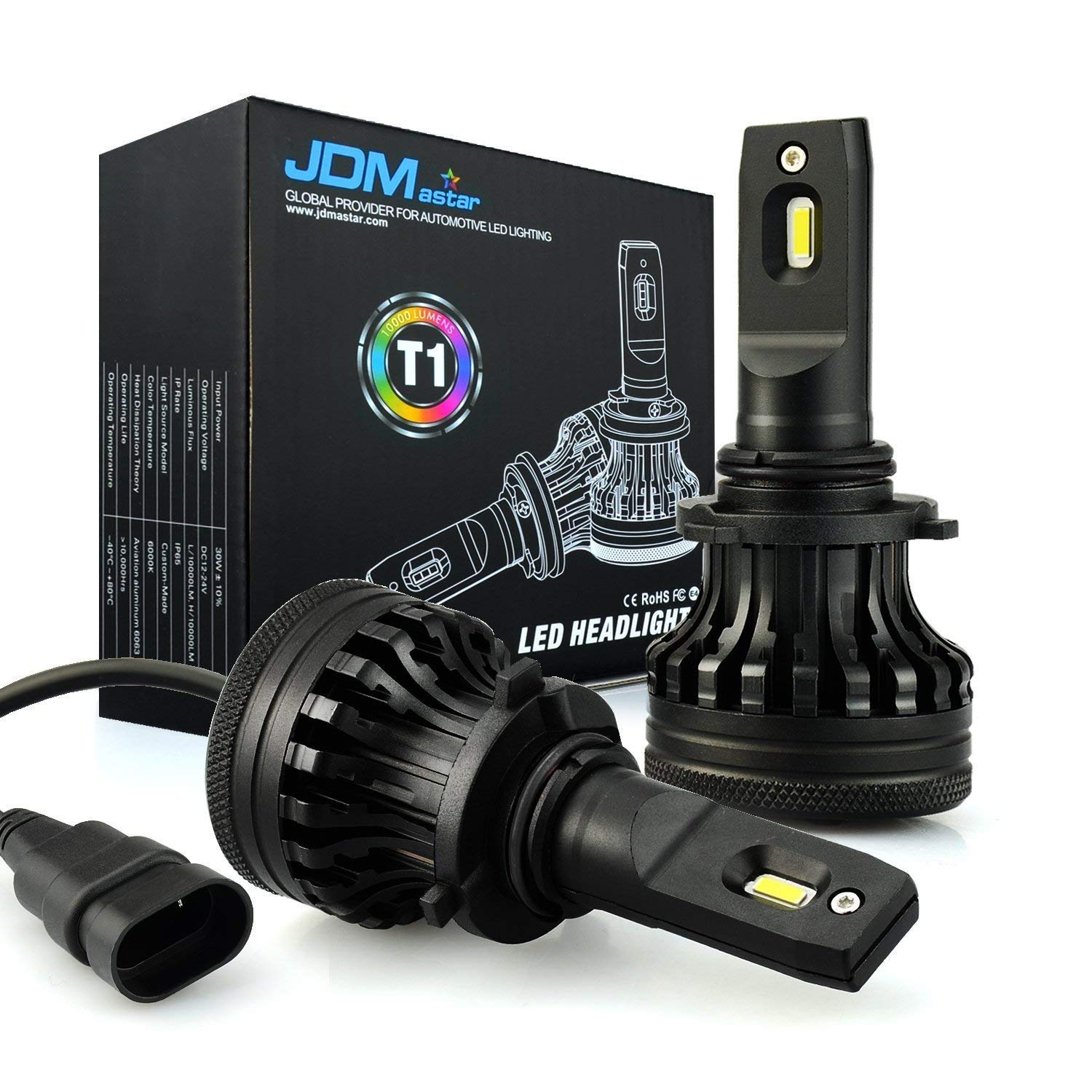 JDM ASTAR Newest Version T1 10000 Lumens Extremely Bright High Power 9006 All-in-One LED Headlight Bulbs Conversion Kit, Xenon White
