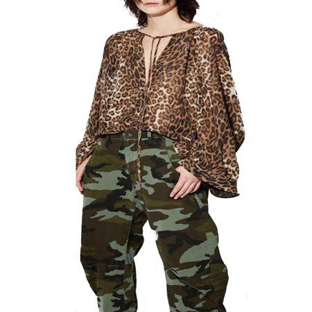 Fashion Women Leopard Print Casual Loose Long Bell Sleeve Basic T-shirt Pullover Tops Deep V-neck Shirt #WAD