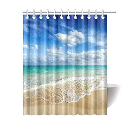 MYPOP Beach Ocean Theme Shower Curtain, Wavy Ocean Surface Scenery Polyester Fabric Mildew Resistant And Waterproof Bath Curtains, 60 By 72 Inches Extra Long, Blue Turquoise Sand