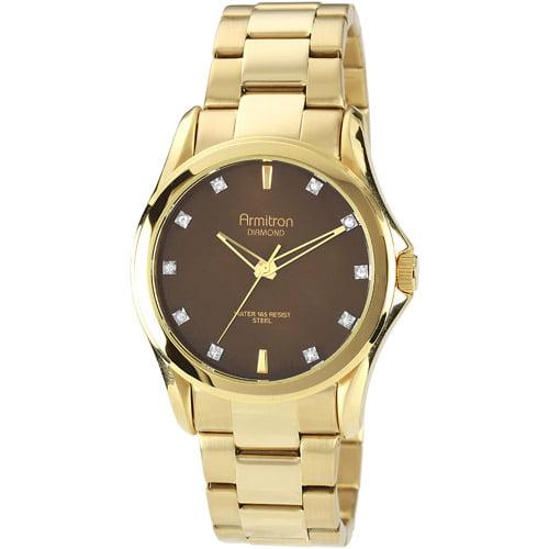 Armitron Men's Brown Diamond Dial Watch, Gold-Tone Bracelet