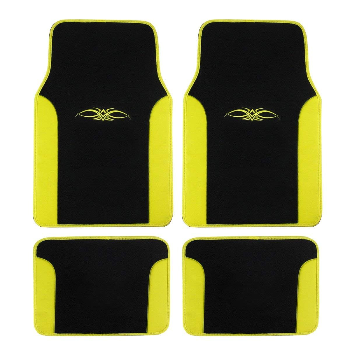 A Set of 4 Universal Fit Plush Carpet with Vinyl Trim Floor Mats For Cars / Trucks (Yellow)