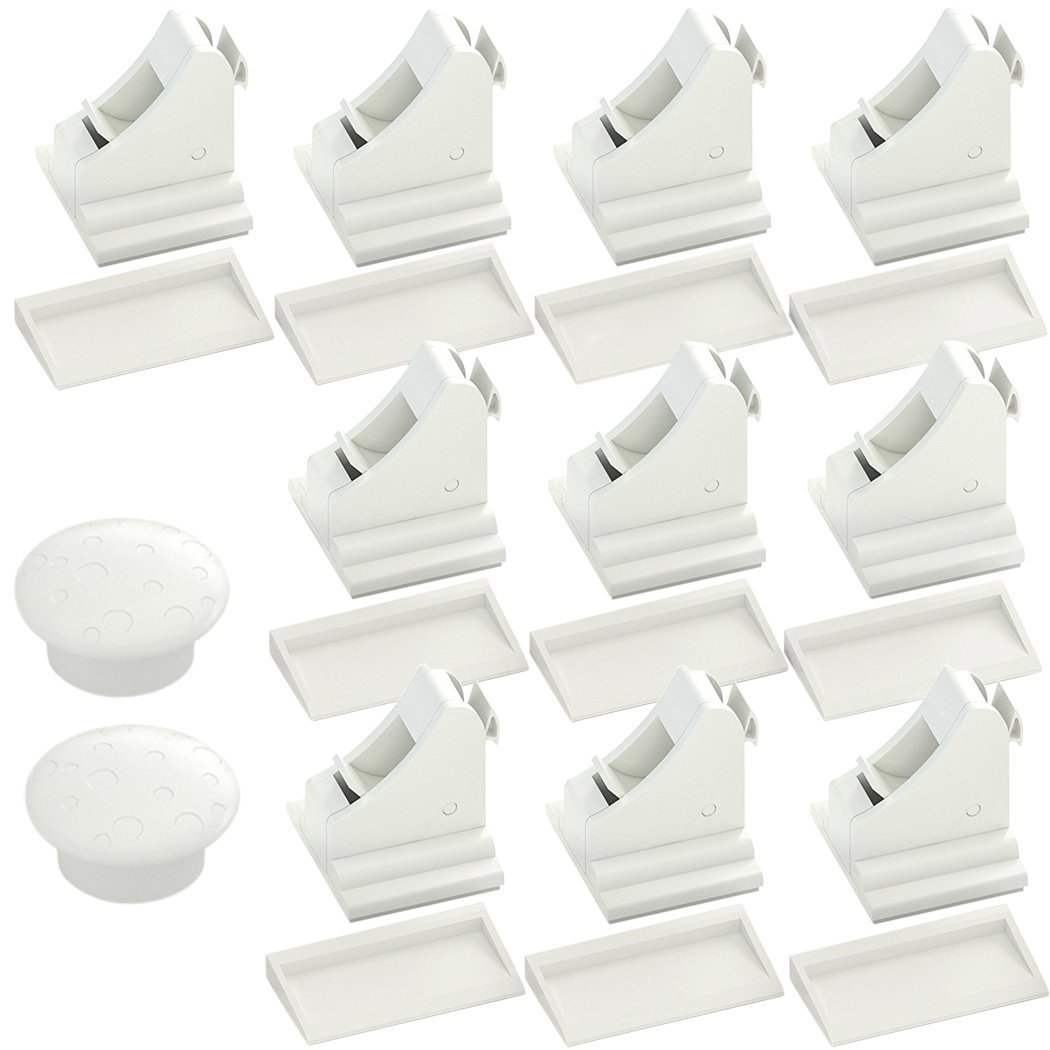 Child Safety Magnetic Cabinet Locks 11 Piece Baby Proofing Set with 3M, No Tools Needed by CarterBee