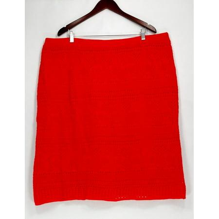 Liz Claiborne New York Plus Size Skirt 2X Pull-On Pointelle Orange ...