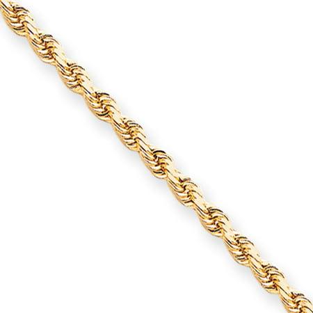 10k 3.5mm Handmade Diamond cut Rope Chain
